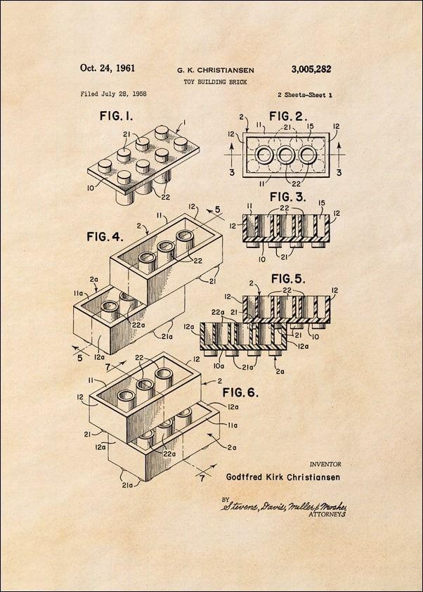 Patent, lego 1961 sepia - plakat wymiar do wyboru: 20x30 cm