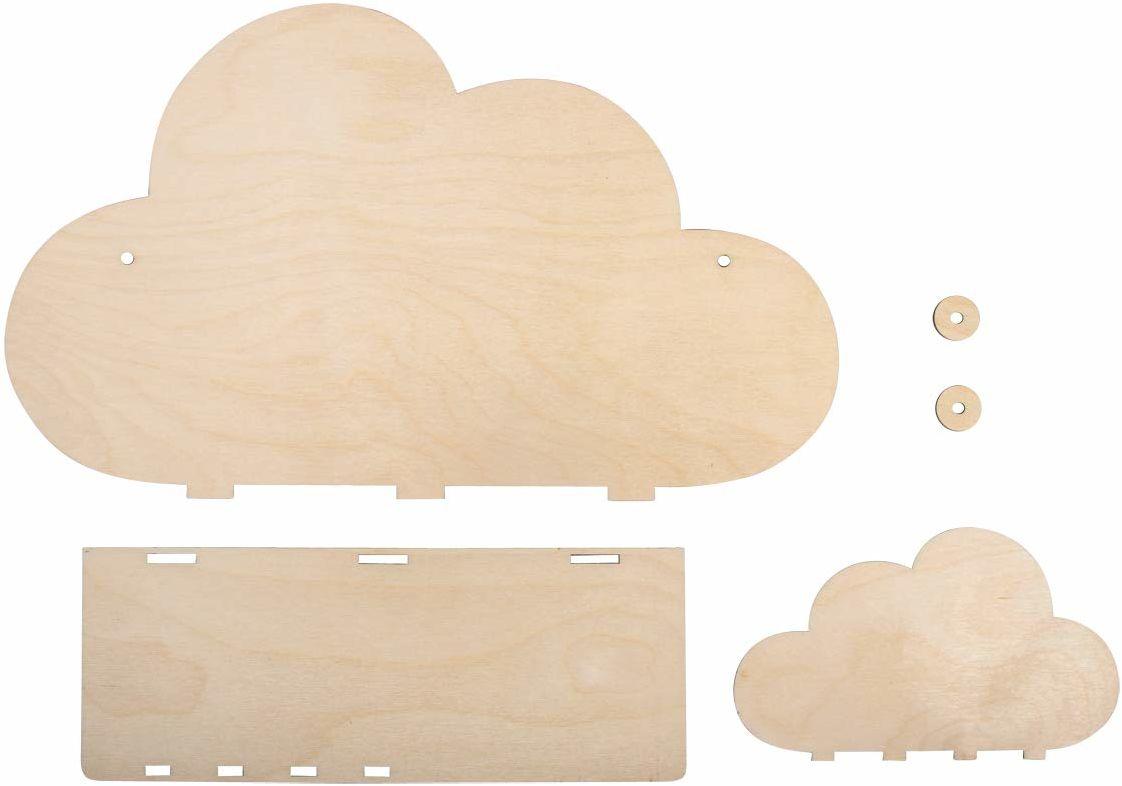 Rayher 62975505 drewniany zestaw do montażu w chmurce, certyfikat FSC, naturalny, 35 x 10 x 21 cm, 5-częściowy zestaw do montażu, regał dziecięcy z drewna, do malowania