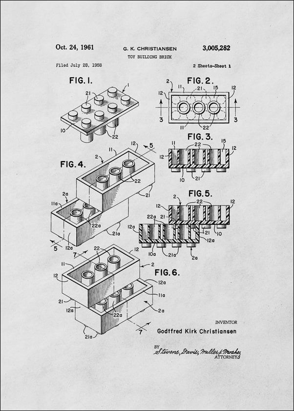 Patent, lego 1961 - plakat wymiar do wyboru: 40x50 cm