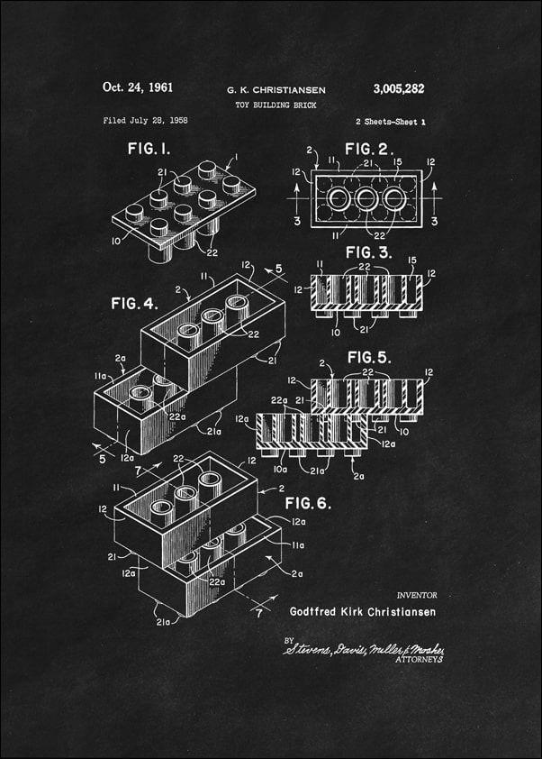 Patent, lego 1961 czarne - plakat wymiar do wyboru: 29,7x42 cm