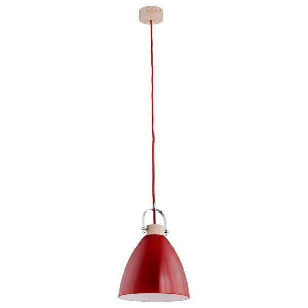 Lampa wisząca zwis HERMINA czerwony/drewno śr. 22cm