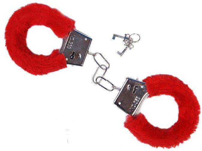 Czerwone kajdanki z futerkiem kjd-007