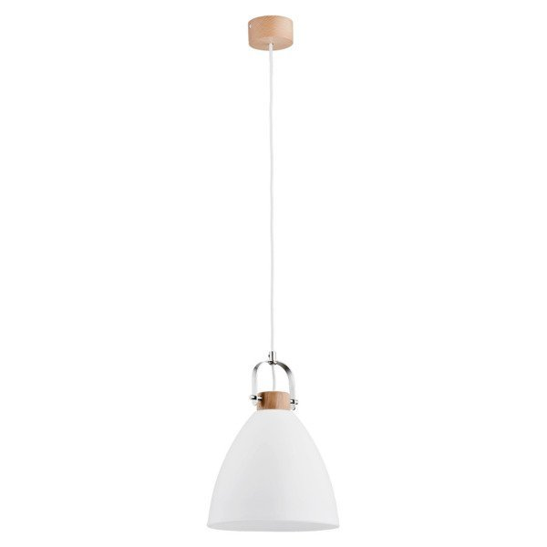 Lampa wisząca zwis HERMINA biały/drewno śr. 22cm