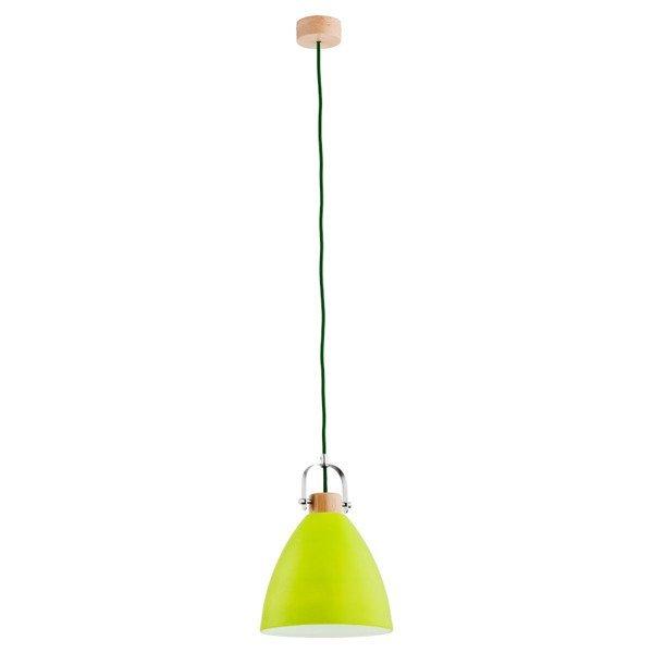 Lampa wisząca zwis HERMINA zielony/drewno śr. 22cm