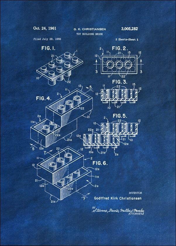 Patent, lego 1961 niebieskie - plakat wymiar do wyboru: 40x50 cm