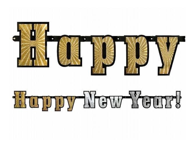 Baner holograficzny Happy New Year - 142 cm - 1 szt.