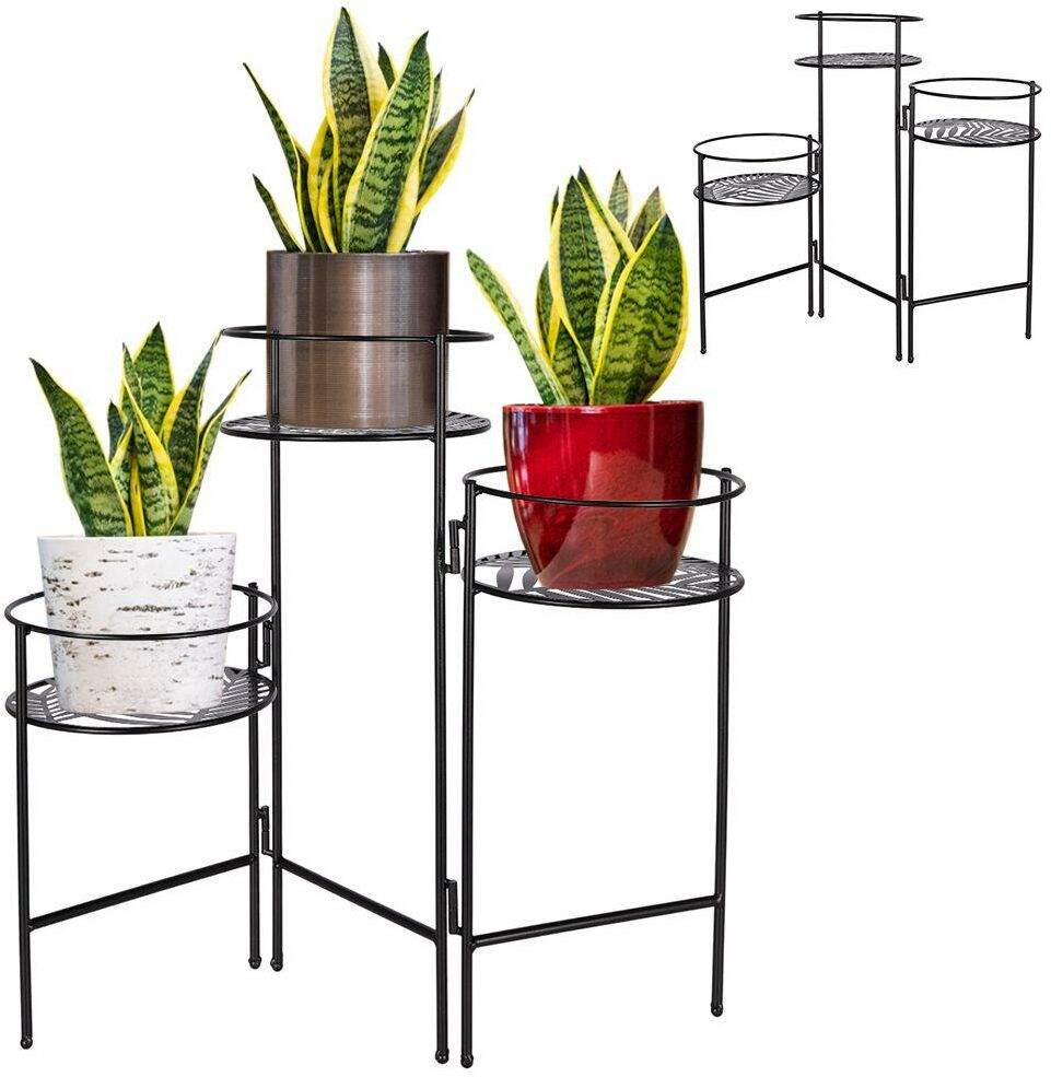 Kwietnik, metalowy, 3-poziomowy, stojak na kwiaty, podstawa na 3 doniczki