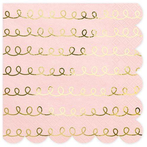Różowe serwetki złote szlaczki 33cm 20 sztuk SP33-84-081PJ-019ME