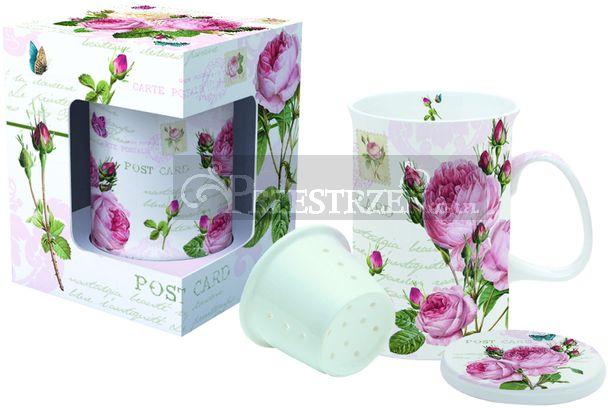 PORCELANOWY KUBEK Z ZAPARZACZEM - Róże Romantic Roses (316 RMR)