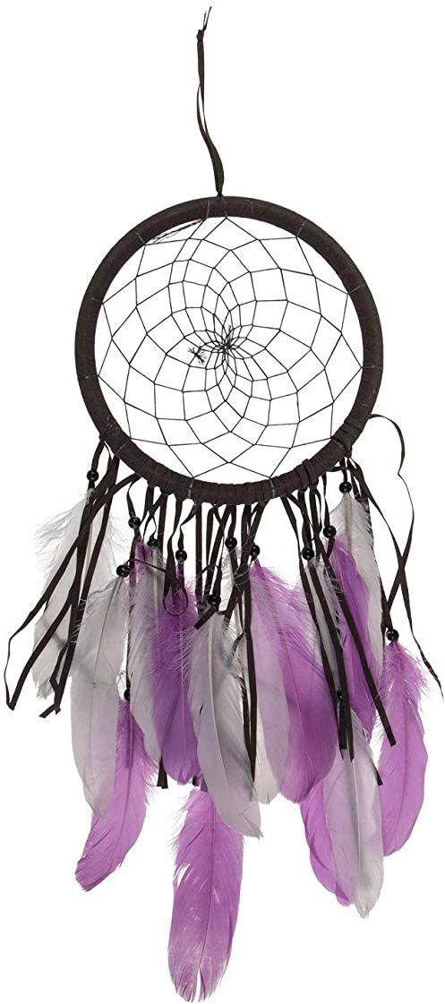 Kolorowy łapacz snów w kolorze brązowym i liliowym, z piórami i perłami, ok. 22 x 54 cm