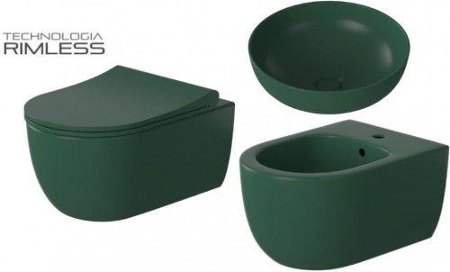 ZESTAW: UMYWALKA+ Miska WC wisząca 36x54x36 cm RIMLESS + deska SLIM+ BIDET , ZIELONY MAT MOLIS