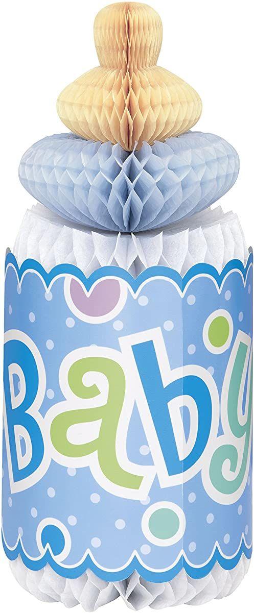 Unique Party 61720-30,5 cm plaster miodu niebieska groszki w kształcie butelki dekoracja na bociankowe