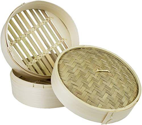 JADE TEMPLE 17115 zestaw do parowania, bambusowe 2 kosze z 1 pokrywką, brązowe 16 x 21 x 21 cm
