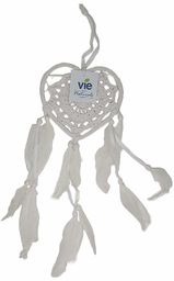 VIE Naturalny łapacz snów w kształcie serca, 12 cm, biały