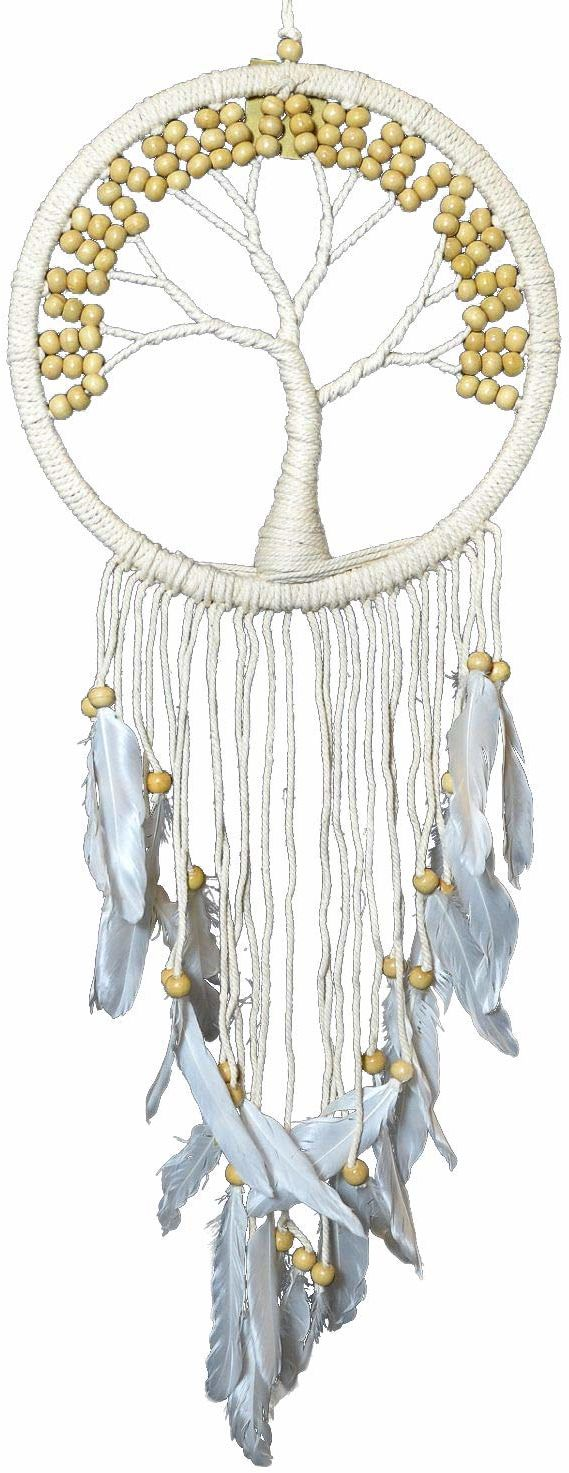 Asiastyle DC-TREEOL01-022WH-NA łapacz snów, biały, naturalny, 22 cm