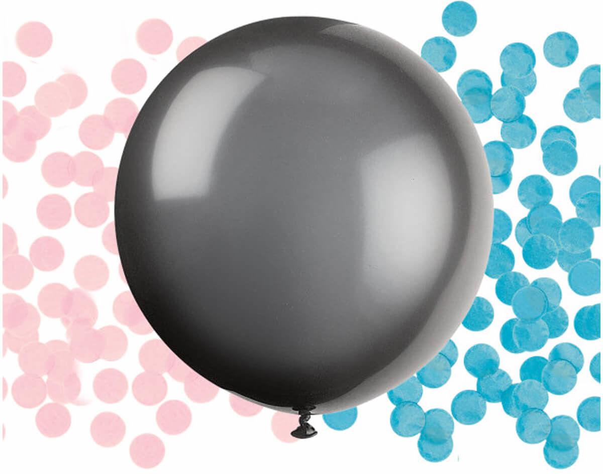 Czarny balon duże z konfetti Baby Shower - 1 szt.