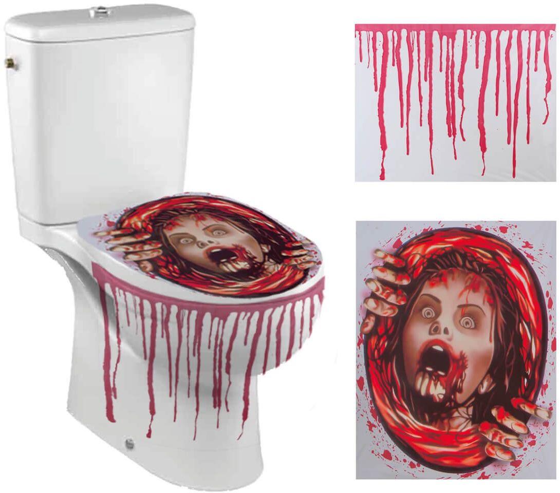 Halloweenowa naklejka na deskę toaletową