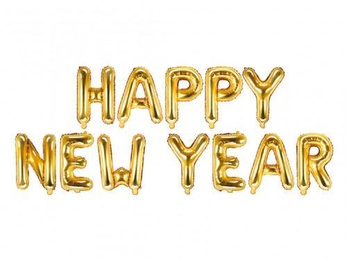 Balon foliowy Happy New Year, złoty