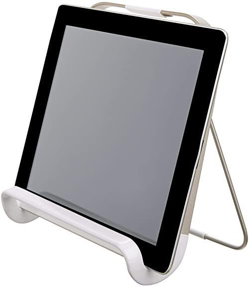 iDesign Stojak na książki kucharskie, uniwersalny uchwyt na tablet, metalowy stojak na książki z przepisami do kuchni, matowa, matowa, biała, 19,7 x 20,0 x 20,0 cm,