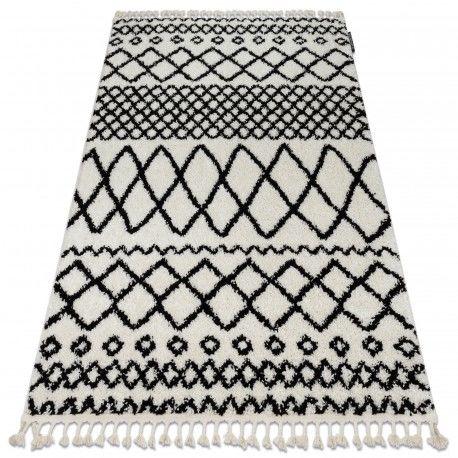 Dywan BERBER SAFI N9040 biały / czarny Frędzle berberyjski marokański shaggy 60x200 cm