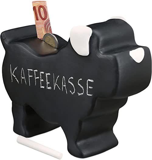 Relaxdays Skarbonka, pies, ceramika z lakierem tablicowym, z kredą, świnka skarbonka do opisania, wymiary: 17 x 8,5 x 20 cm, czarna