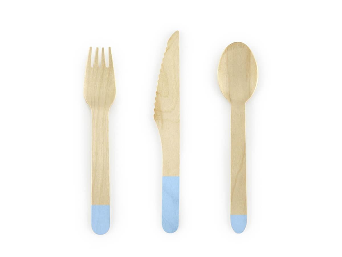 Zestaw sztućców drewnianych błękitnych - 18 szt.