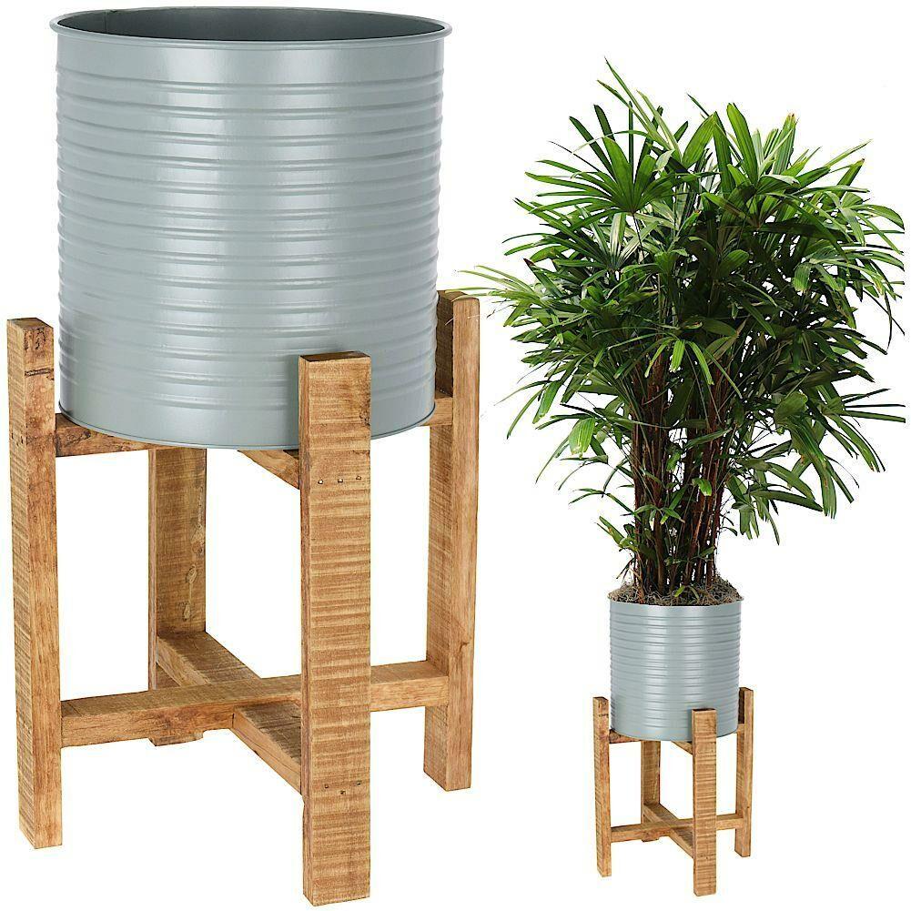 Kwietnik, osłonka, doniczka metalowa na drewnianym stojaku, 58 cm, na rośliny, kwiaty