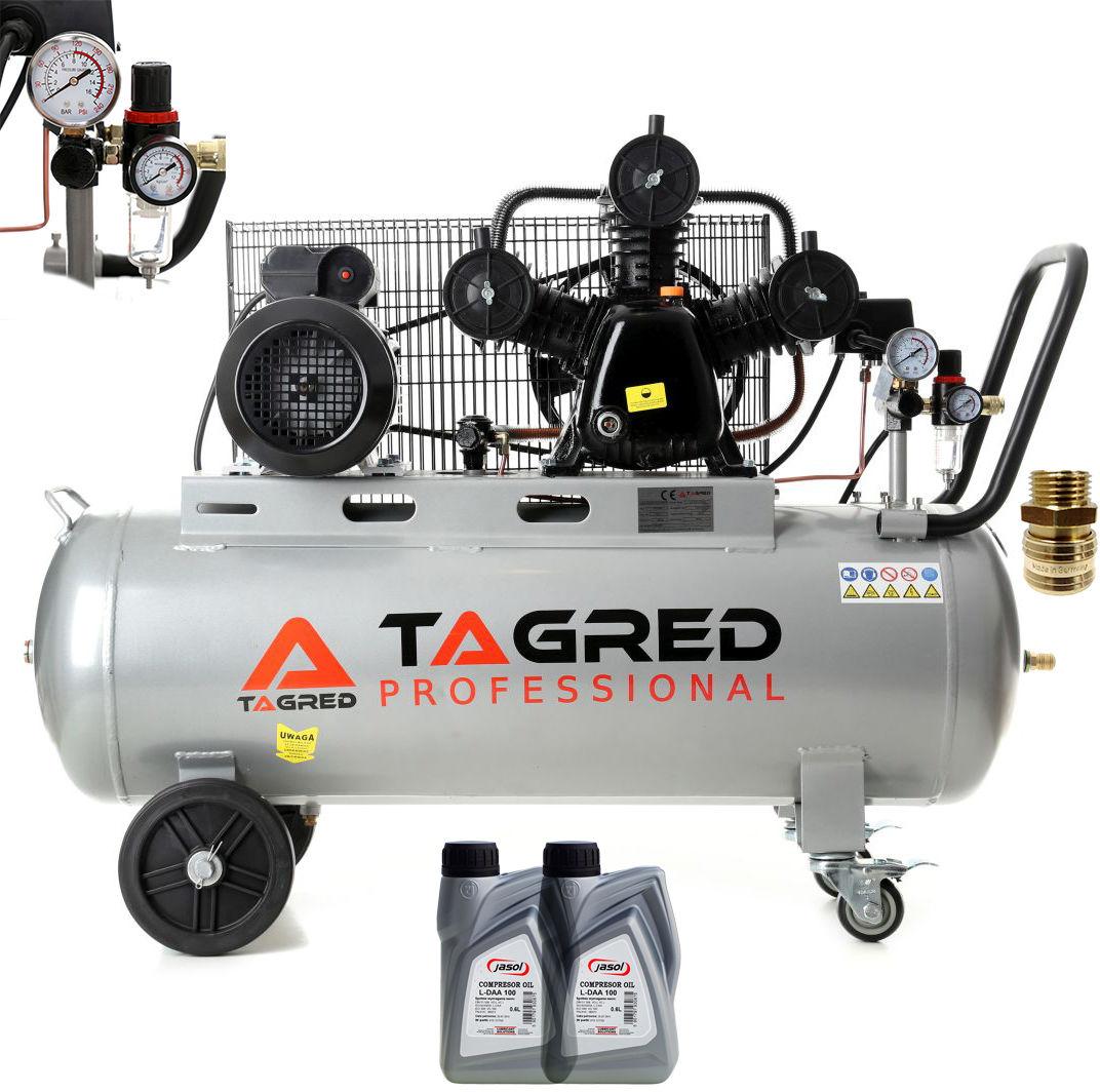 Kompresor olejowy, sprężarka TAGRED 100L 3-tłokowy, bęben, wąż, separator
