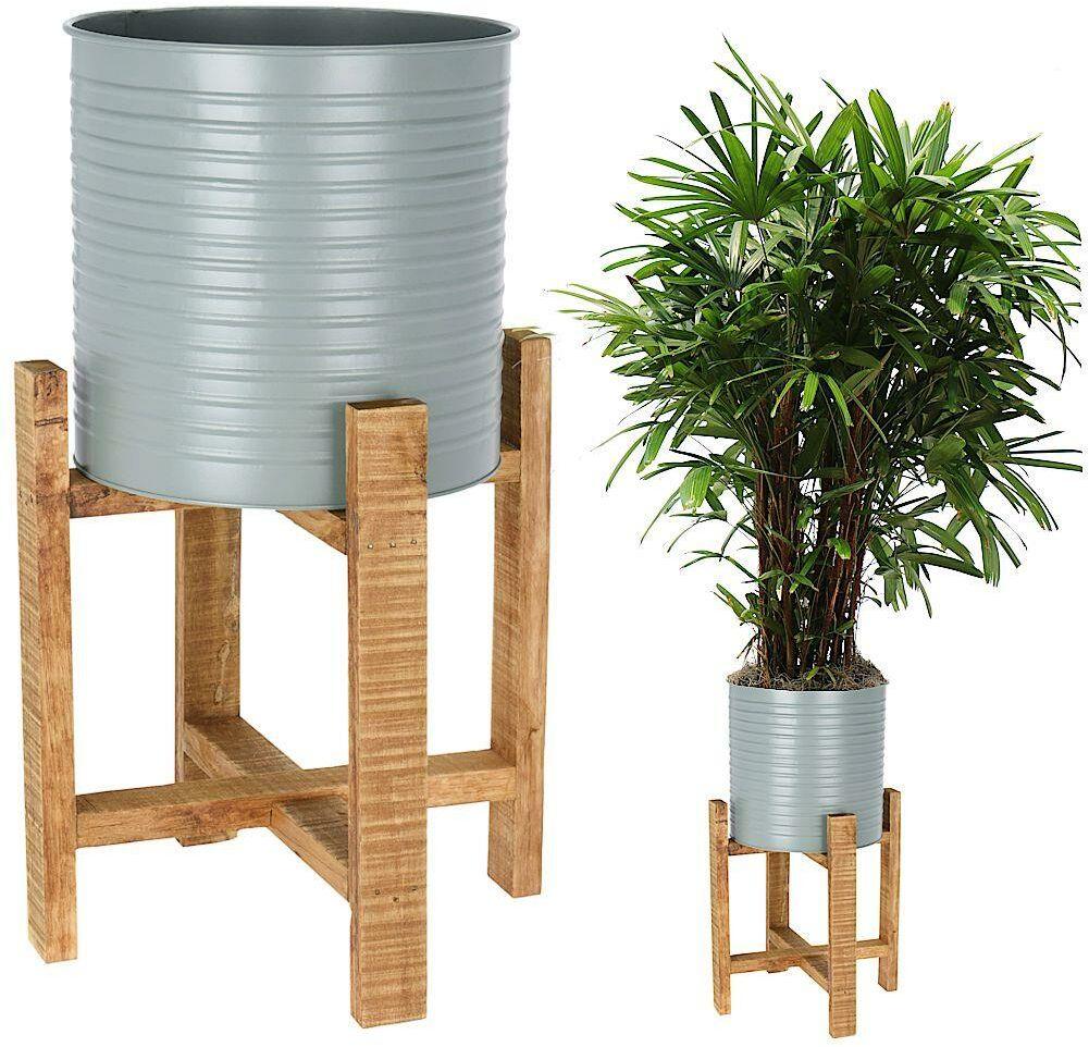 Kwietnik, osłonka, doniczka metalowa na drewnianym stojaku, 50 cm, na rośliny, kwiaty