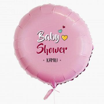 Baby shower dziewczynka - Balon z helem - Koło