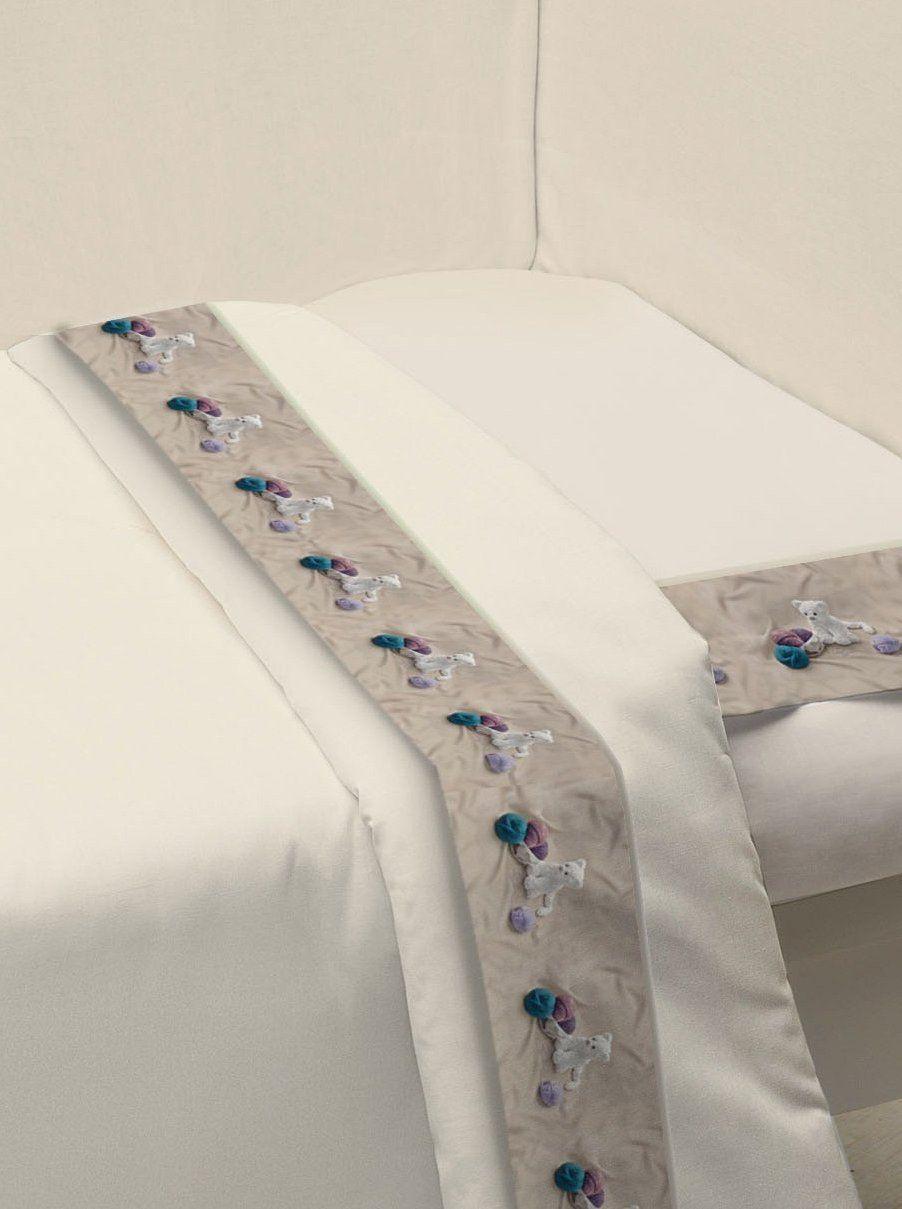 Ipersan Zestaw łóżeczka dziecięcego Funny Bear beżowy/naturalna biel 120 x 180 cm + 40 x 60 cm