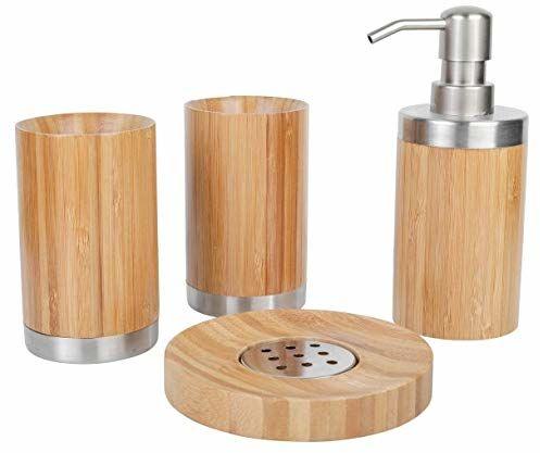 axentia Bambusowy zestaw łazienkowy, kolor drewna/srebrny, ok. 10 x 23 x 19 cm