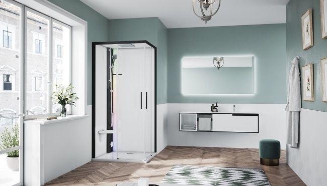Novellini Glax 1 2.0 kabina z sauna parową 100x70 lewa czarna G21A197SM5-1HH