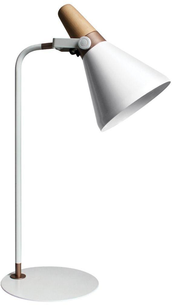 Lampa biurkowa H1833 E27 Zuma Line nowoczesna skandynawska biała drewno