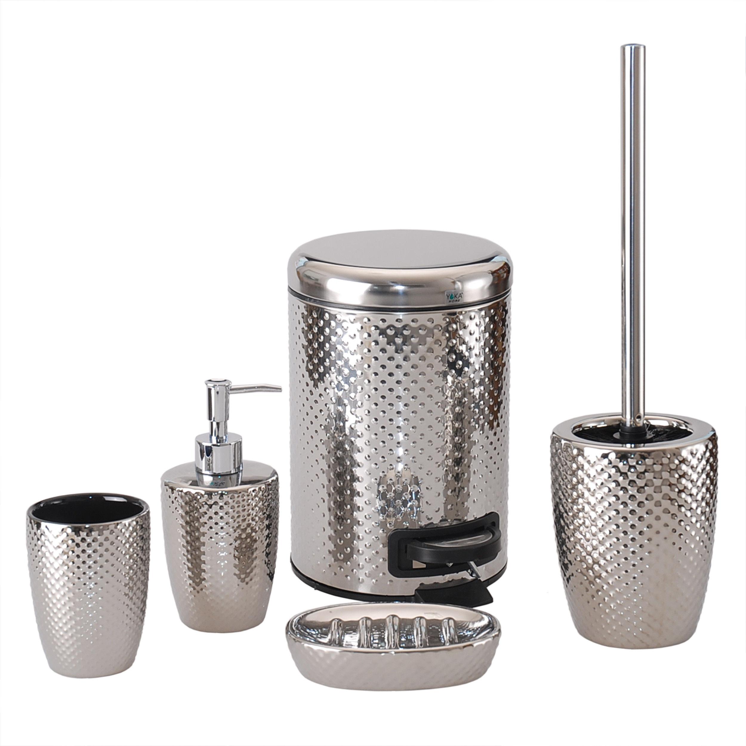 Komplet łazienkowy 5-elementowy ceramiczny srebrny - Yoka