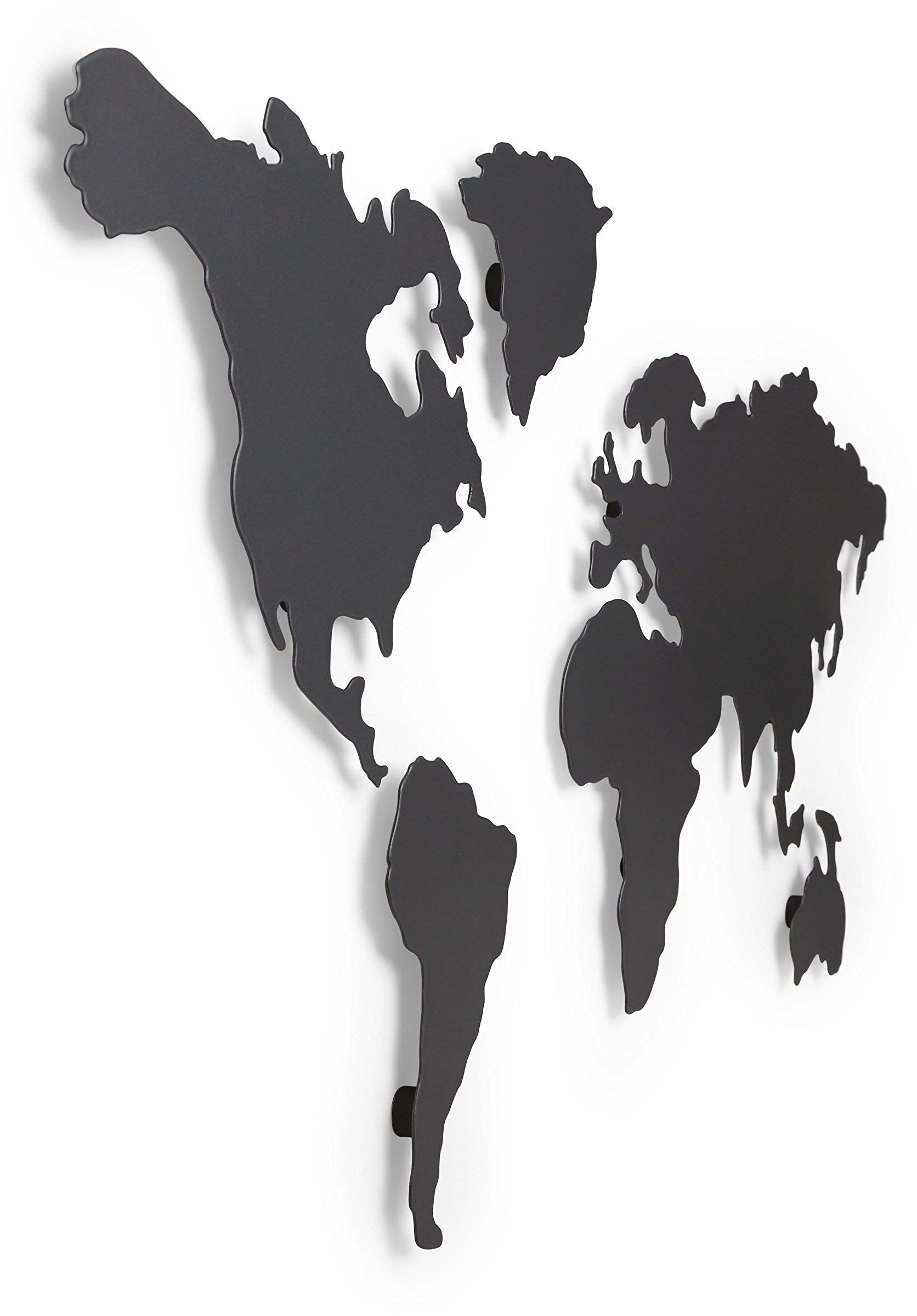 Umbra Mapa dekoracja ścienna ? Mapa tablicy magnetycznej do śledzenia podróży, powlekana tytanem, sztuka ścienna