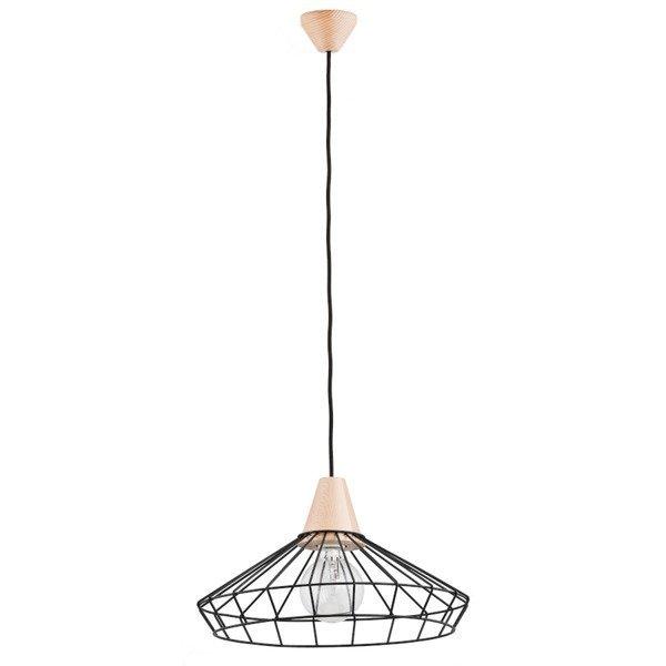 Druciana lampa kratka WART czarna/drewno śr. 40cm