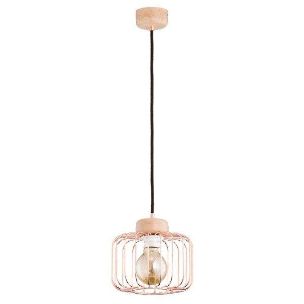 Druciana lampa kratka ALBA miedź/drewno śr. 20cm