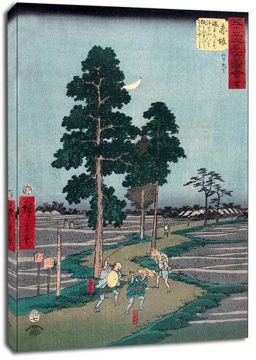 Akasaka on the nawate road, yajirôbei takes kitahachi for a fox and beats him, hiroshige - obraz na płótnie wymiar do wyboru: 40x50 cm