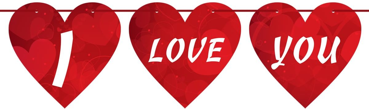 Baner wiszący serca I Love You na Walentynki - 2m