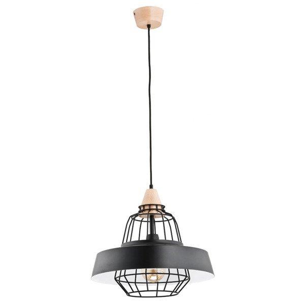 Nowoczesna lampa TAMARIS czarna/drewno śr. 40cm