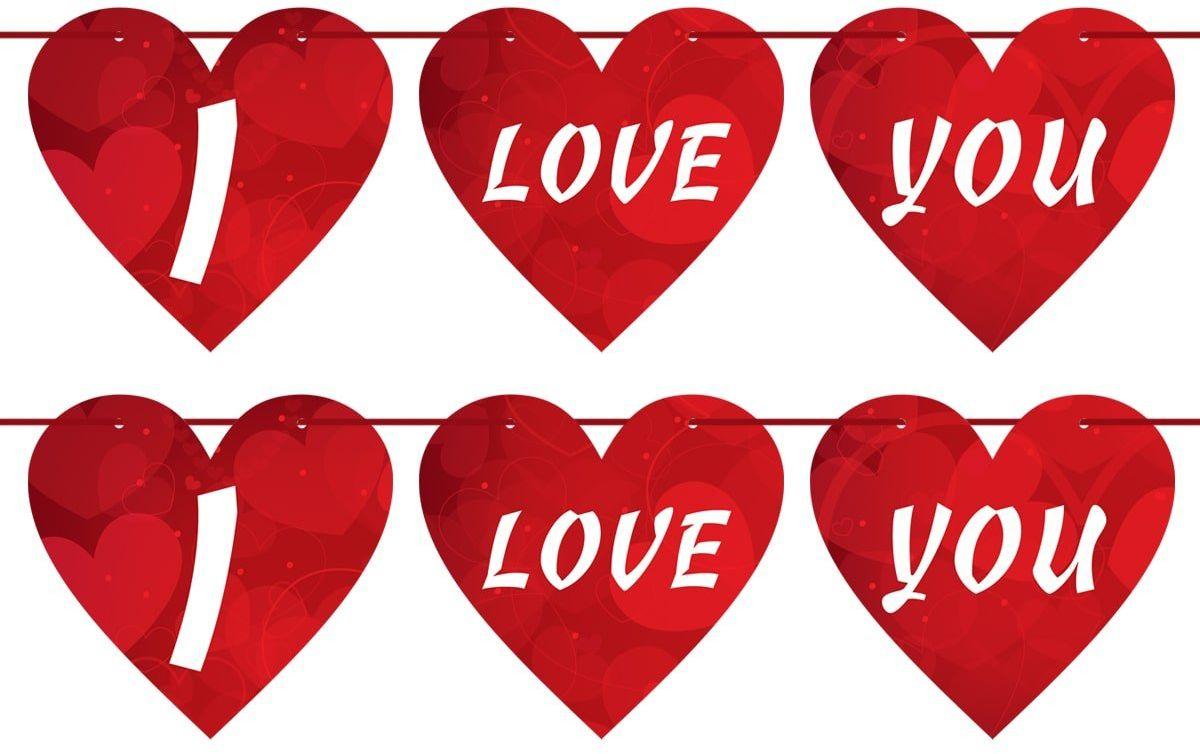 Baner wiszący serca I Love You na Walentynki - 8m