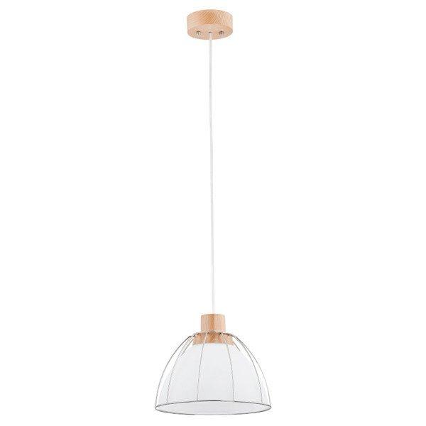 Nowoczesna lampa VIVIO biała/drewno śr. 26cm