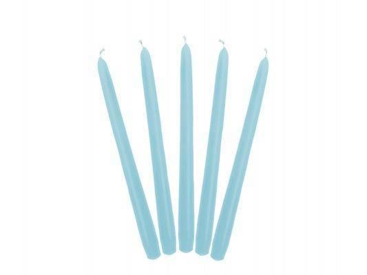 Świeca stożkowa błękitna - 24 cm - 10 szt.