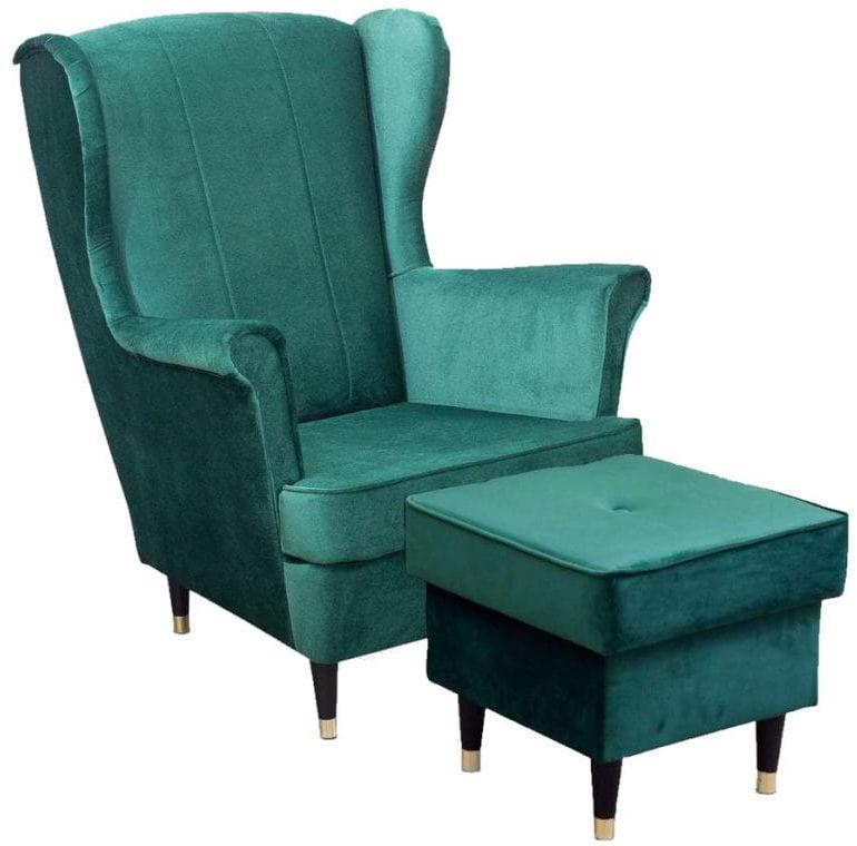 Fotel uszak Lily III z podnóżkiem w stylu skandynawskim
