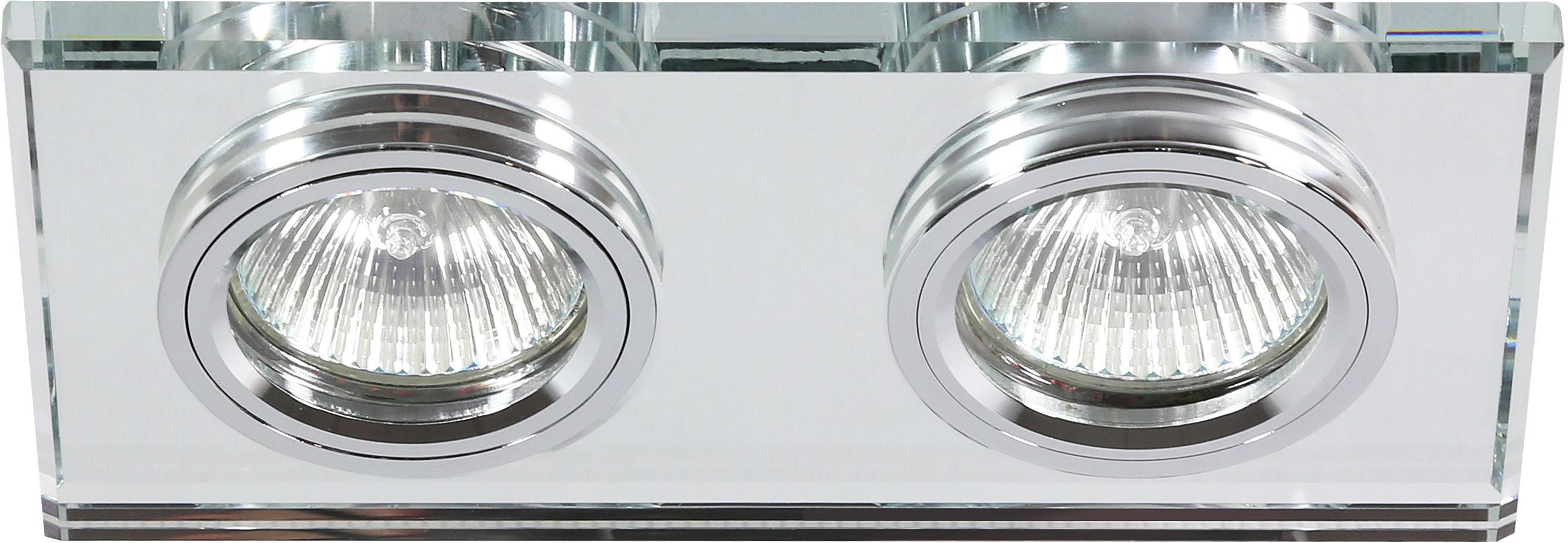 Candellux SS-21 CH/TR oprawa do wbudowania stropowa chrom MR16 DUAL 2X50W prostokąt szkło transparentne 18cm