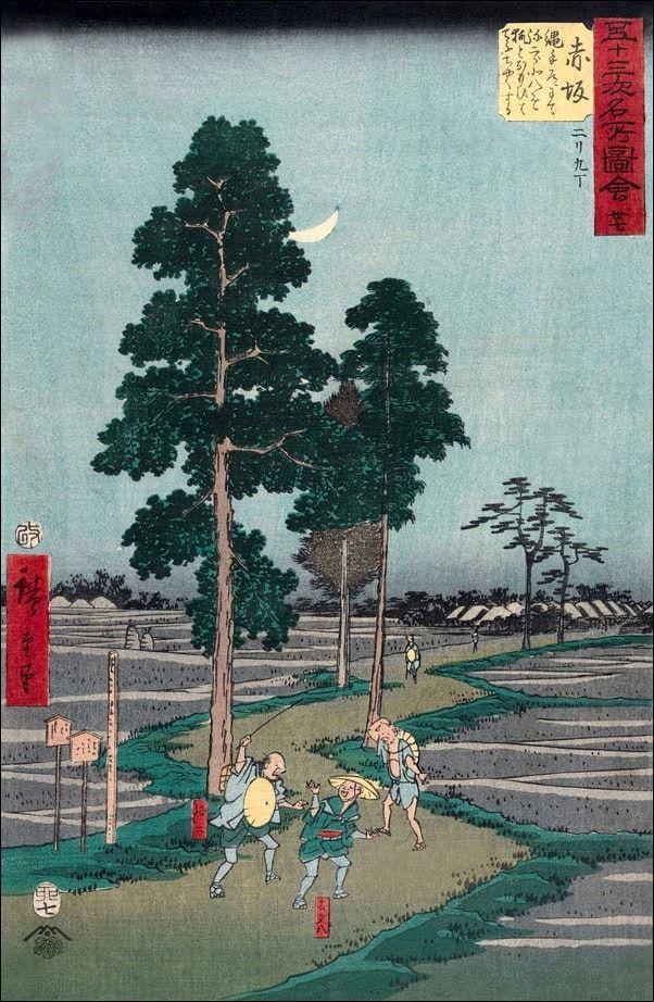 Akasaka on the nawate road, yajirôbei takes kitahachi for a fox and beats him, hiroshige ando - plakat wymiar do wyboru: 50x70 cm