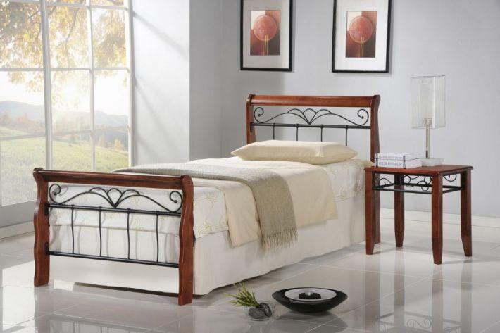 Łóżko VERONICA 90x200 czereśnia antyczna do sypialni ze stelażem  KUP TERAZ - OTRZYMAJ RABAT