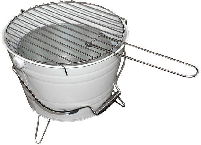 Grill ogrodowy wiaderko mini BBQ przenośny biały
