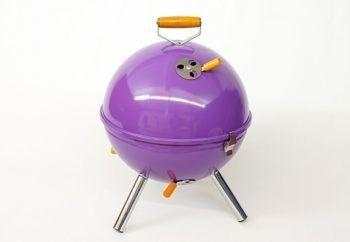 Grill ogrodowy węglowy okrągły, mini grill bbq kolor fioletowy (HUR-YG00263_L)